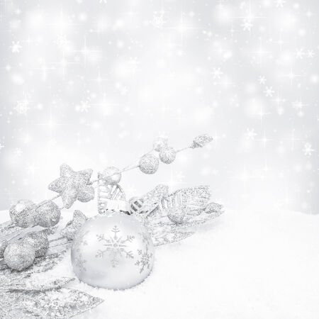 shiny christmas baubles: White decorative christmas background with bokeh lights and snowflakes Stock Photo