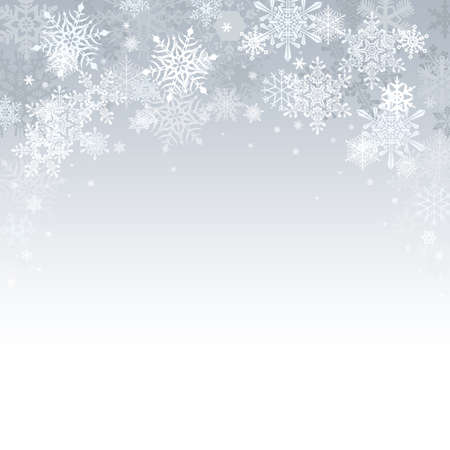 snow: Silver Christmas background with stars and bokeh lights