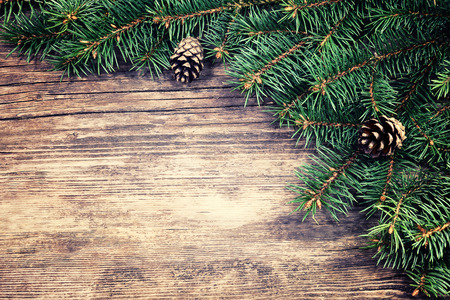 Christmas fir tree on a wooden background
