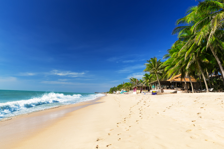 Mui Ne White Sandy Beach, Vietnam. Asia Фото со стока