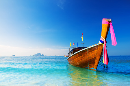 long bay: Long boat and tropical beach, Andaman Sea, Thailand
