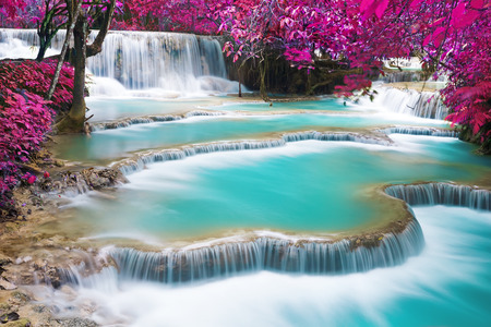 waterfalls: Turquoise water of Kuang Si waterfall, Luang Prabang. Laos