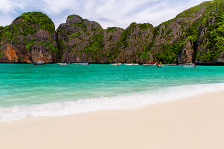 koh: Tropical island with resorts - Phi-Phi island, Krabi Province, Thailand. Stock Photo