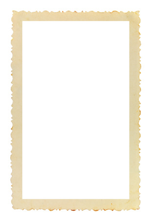 torn paper edge: Vintage photo frame with figured edges, on white background