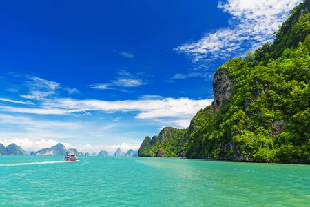 james: Rocky tropical landscape in the Pang Nga bay, Thailand Stock Photo