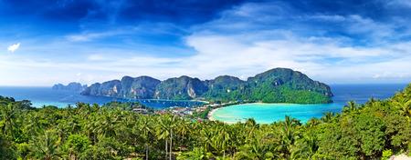 viewpoints: Panorama of Phi-Phi island, Krabi Province, Thailand, Asia