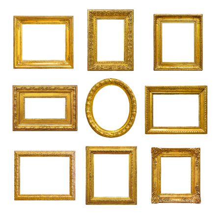 gold picture frame: Set of golden vintage frame on white background