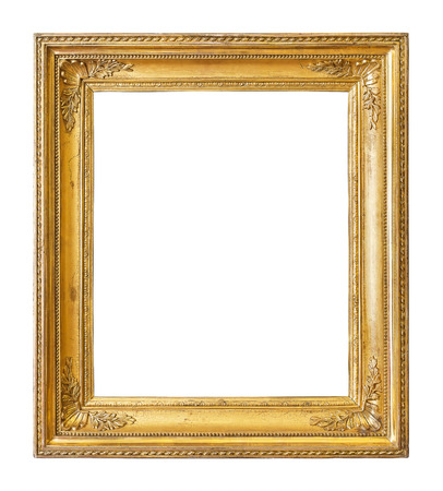 Vintage gold color picture frame isolated on white background