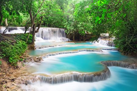 relaxation background: Turquoise water of Kuang Si waterfall, Luang Prabang. Laos