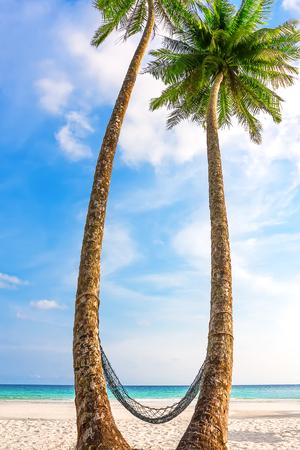 kood: Hammock between palm trees on beautiful tropical beach at Koh Kood, Thailand Stock Photo