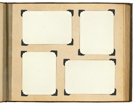 grabado antiguo: P�gina de �lbum de fotos de �poca, con marcos de fotos Foto de archivo