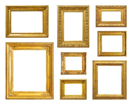 óvalo: Conjunto de marco de la vendimia de oro sobre fondo blanco