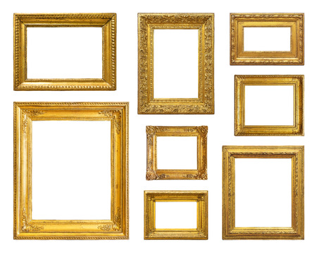 baroque picture frame: Set of golden vintage frame on white background