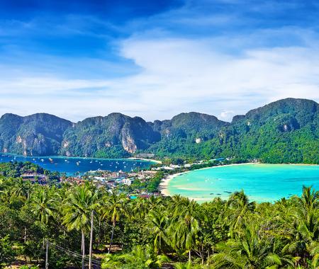 asia nature: Panorama of Phi-Phi island, Krabi Province, Thailand, Asia