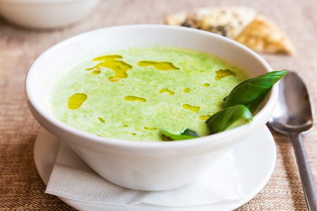 cheddar: Broccoli and cheddar cheese cream soup Stock Photo
