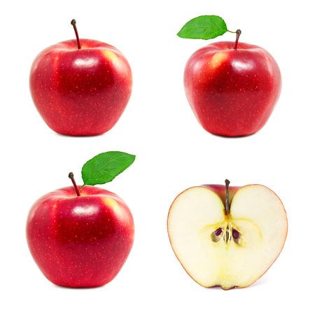 manzana: Conjunto de manzanas rojas sobre un fondo blanco