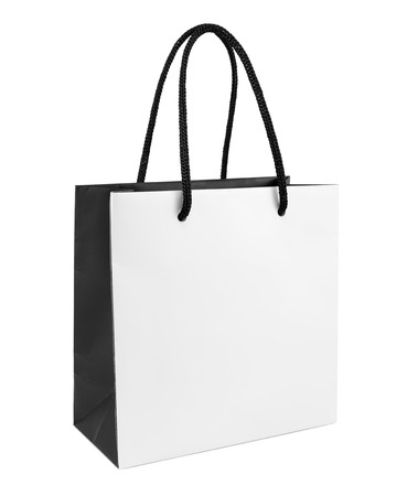 gift bags: White and black paper shopping bag isolated Stock Photo