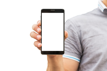 Young man showing a mobile phone application, close up