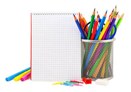 papeleria: Papel de la escuela en un blanco, de nuevo a fondo de la escuela
