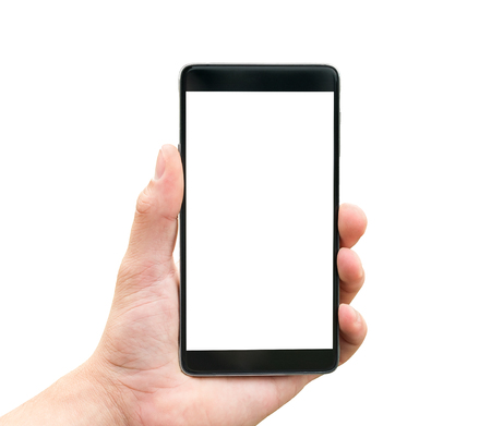 mobile internet: Hand holding mobile smart phone isolated on white background Stock Photo