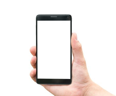 Hand hält mobile Smartphone isoliert auf weißem Hintergrund Standard-Bild - 45009606