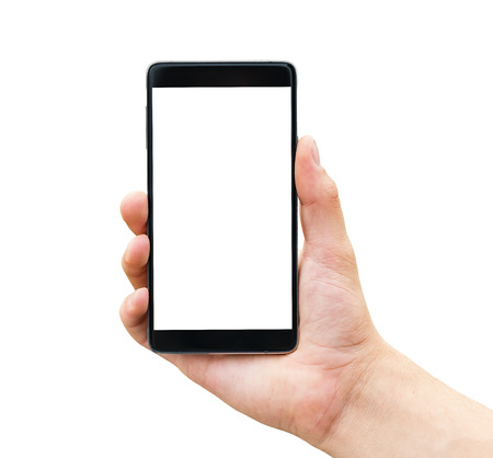 Hand holding mobile smart phone isolated on white background Foto de archivo