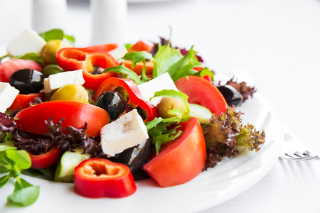 vegetable salad: Mediterranean salad with tomatoes, olives and peppers