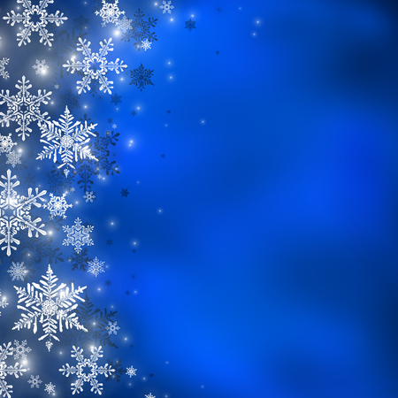 blue and white: Decorative christmas background with bokeh lights and snowflakes Stock Photo