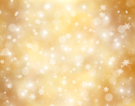 gold silver: Decorative christmas background with bokeh lights and snowflakes Stock Photo