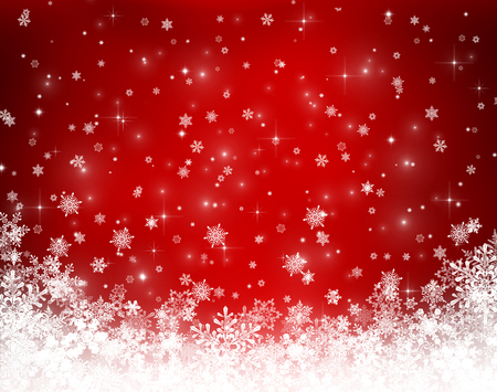 red white blue: Decorative christmas background with bokeh lights and snowflakes Stock Photo