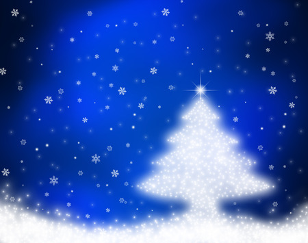 shinny: Shinny Christmas Tree, abstract background with bokeh lights and snowflakes Stock Photo