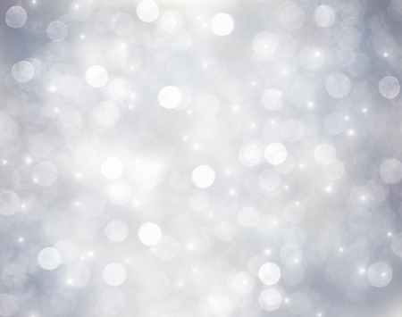silver star: Decorative christmas background with bokeh lights and snowflakes Stock Photo