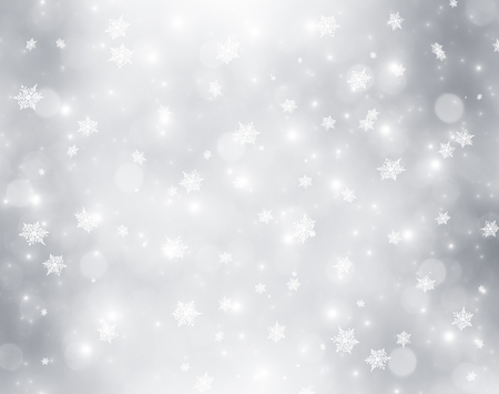 Decorative christmas background with bokeh lights and snowflakes Imagens