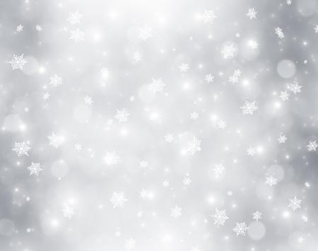 flocon de neige: Fond de No�l avec des lumi�res d�coratives bokeh et flocons de neige