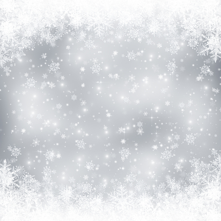 Decorative christmas background with bokeh lights and snowflakes 스톡 콘텐츠