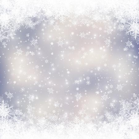 Decoratieve kerst achtergrond met bokeh lichten en sneeuwvlokken