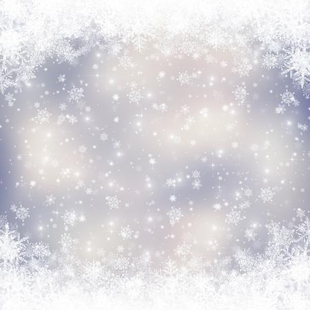 blue christmas background: Decorative christmas background with bokeh lights and snowflakes Stock Photo