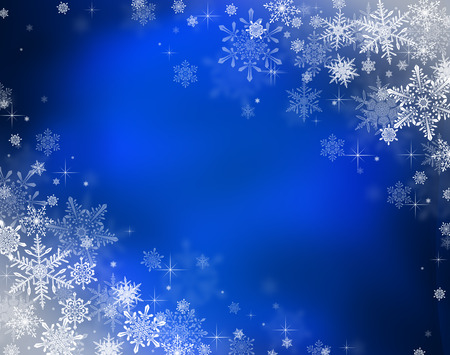 background design: Decorative christmas background with bokeh lights and snowflakes Stock Photo