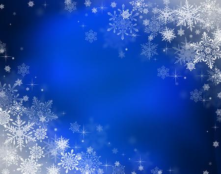 Fond de Noël avec des lumières décoratives bokeh et flocons de neige Banque d'images