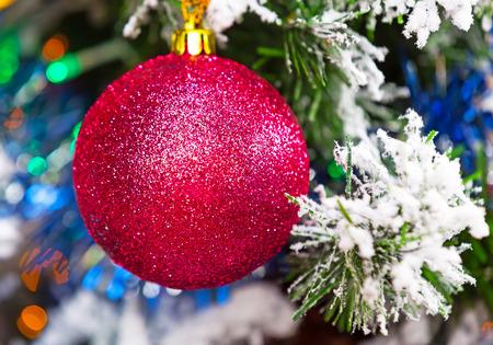 christmas tree ball: Christmas background with red ball and christmas tree Stock Photo