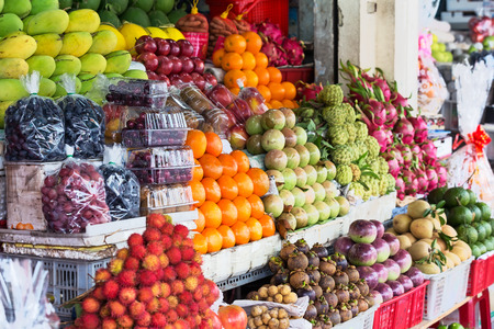 street market: Street market with different exotic fruits. Vietnam, Asia