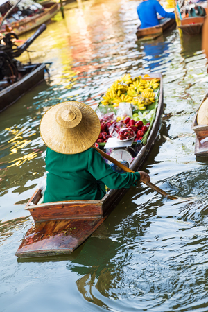 saduak: Traditional floating market in Damnoen Saduak near Bangkok. Thailand