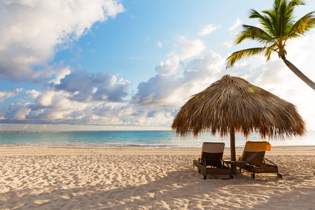 傘と美しい砂浜プンタカナ、ドミニカ共和国のビーチ チェア