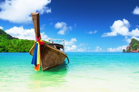 andaman sea: Long boat and tropical beach, Andaman Sea, Phi-Phi, Thailand Stock Photo