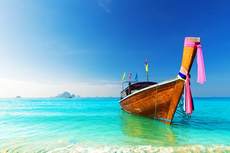 andaman sea: Long boat and tropical beach, Andaman Sea, Thailand