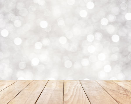 kitchen counter top: Empty wooden table on white abstract background with bokeh