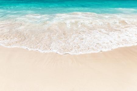 cana: Wave of the sea on the sand beach in Punta Cana, Dominican Republic Stock Photo