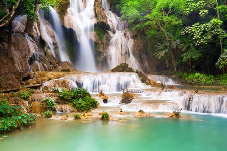 si: Turquoise water of Kuang Si waterfall, Luang Prabang. Laos
