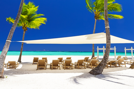 Beautiful white sandy beach of a luxury resort in Cap Cana, Dominican Republic