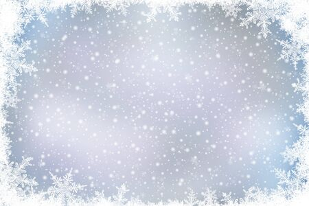 Decorative Christmas background with bokeh lights and snowflakes. Christmas and Happy New Year silver background with snowflake.